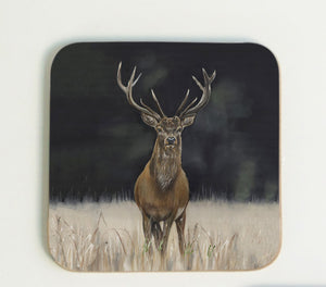 Stag Coaster with black background