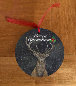 Stag With Dark Background Hanging Decoration