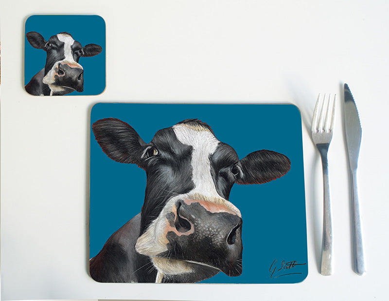 Friesian Cow Head with Blue Background Placemat