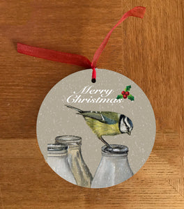 Blue Tit On Milk Bottle Hanging Decoration
