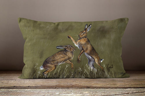 Boxing Hares Oblong 60cm x 40cm Cushion Grace Scott Art