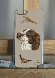 Brown Spaniel with Pheasants Hunting Themed Phone Case