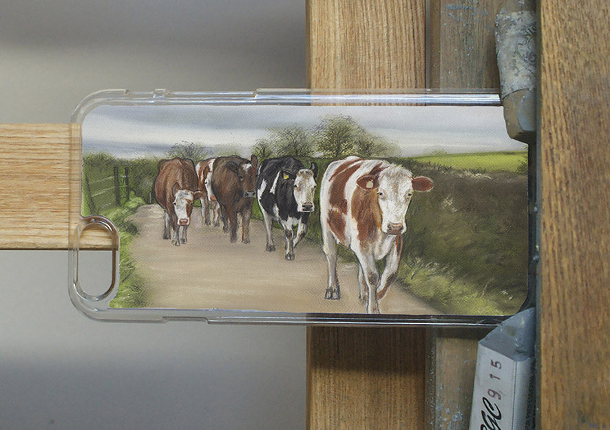 Herd Of Cows Walking Country Lane Phone Case
