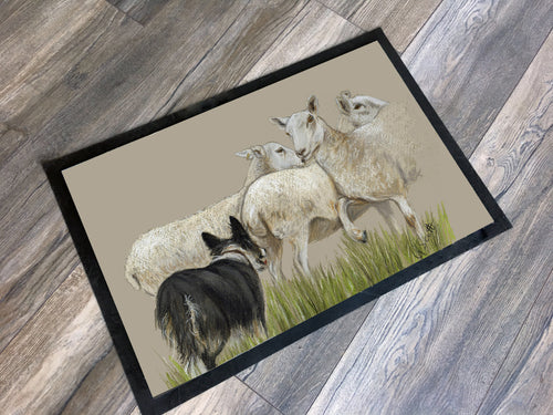 Collie Herding Sheep Floor Mat