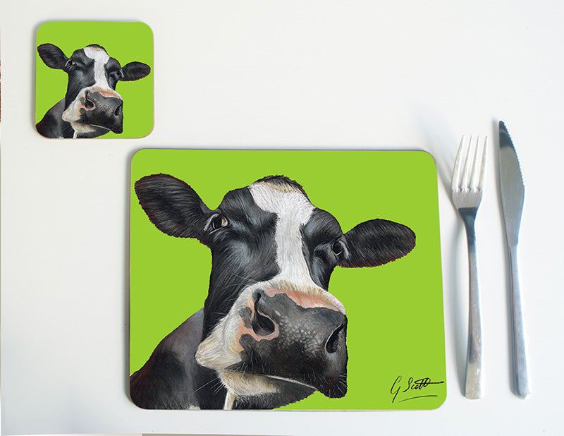 Friesian Cow Head with Green Background Placemat