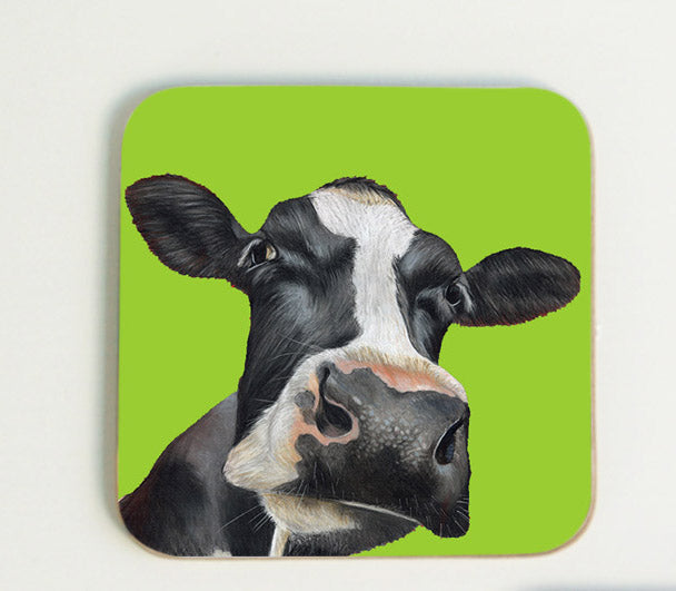 Friesian Cow Head Coaster with Green Background