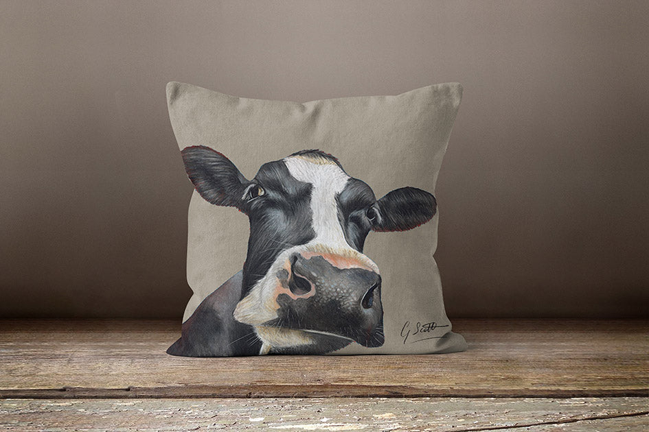 Friesian Cows Head Square Cushion