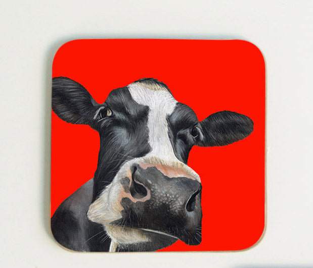 Cow in Red Background Coaster