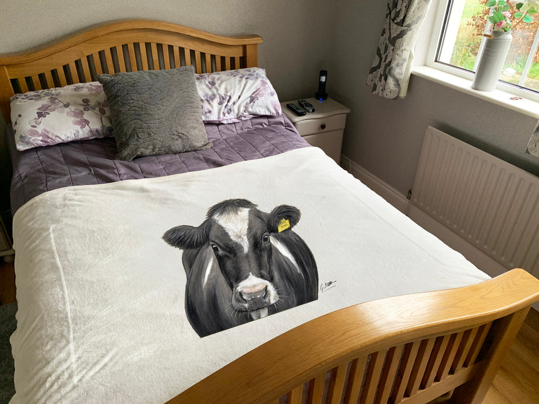 Friesian Cow With Tag Super Soft Blanket