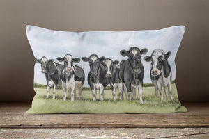 Herd Of Friesian Cows Oblong Cushion