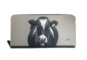 Friesian Cow With Tag Zipped Purse