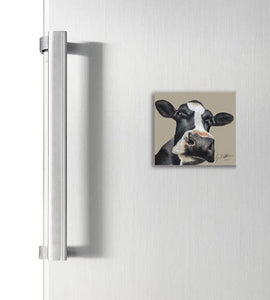 Friesian Cow Head Square Magnet