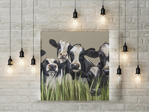 Friesian Cows Through Grass Limited Edition Canvas Print