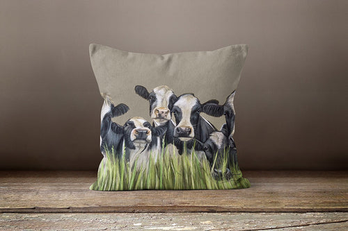 Row Of Cows through Grass Square Cushion