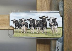Row Of Friesian Cows With Sky Background Phone Case