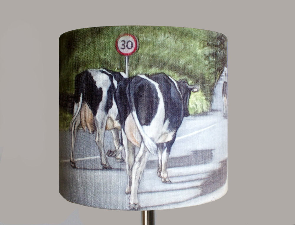 Cows Walking Road Lampshade by artist Grace Scott