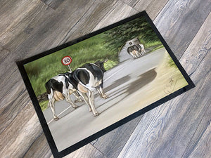 Cows Walking Road Floor Mat
