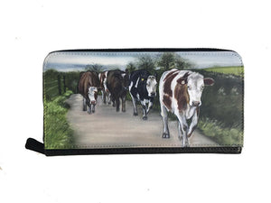 Herd Of Cattle Walking Down Lane Zipped Purse