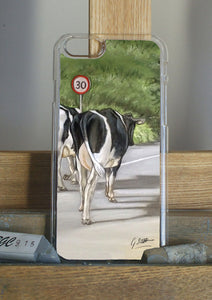 Friesian Cows Walking On Country Road Phone Case