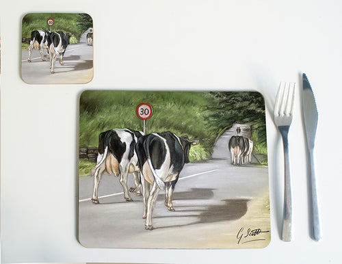 Cows Walking Road Placemat