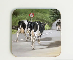 Cows Walking down Road Coaster