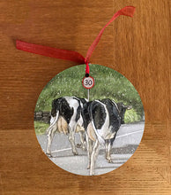 Herd Of Friesian Cows Walking Road Hanging Decoration