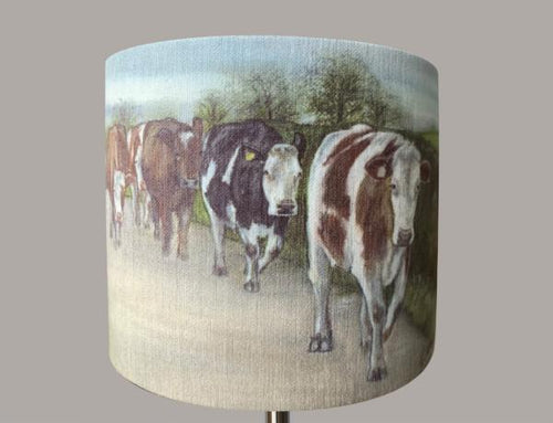 Mixed Cows Walking on Road Lampshade