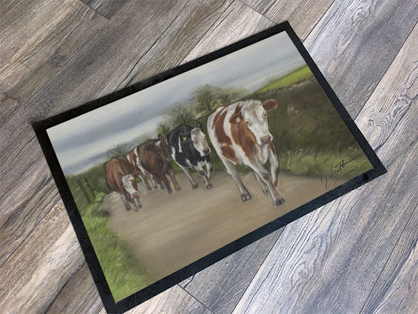 Herd Of Cattle Walking Road Floor Mat