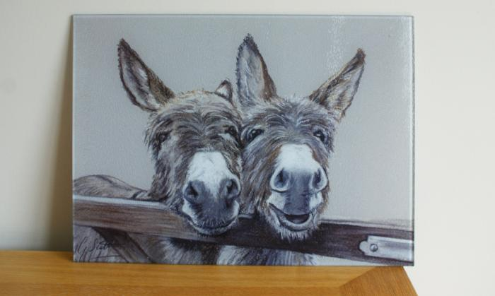 Donkeys Over Gate Glass Worktop Saver