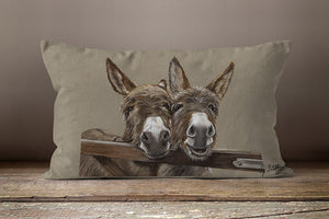 Duo Of Donkeys Over Gate Oblong Cushion