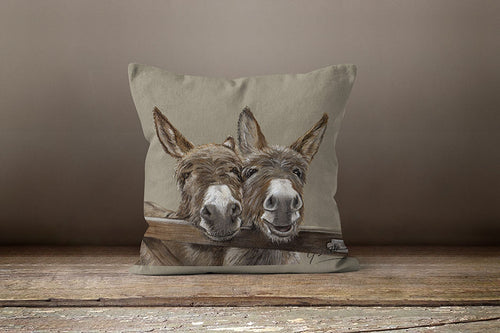 Donkeys Over Gate Square Cushion By Grace Scott