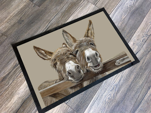 Donkeys Over Gate Floor Mat