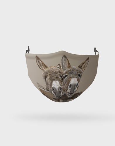 Donkeys Over Gate Face Mask