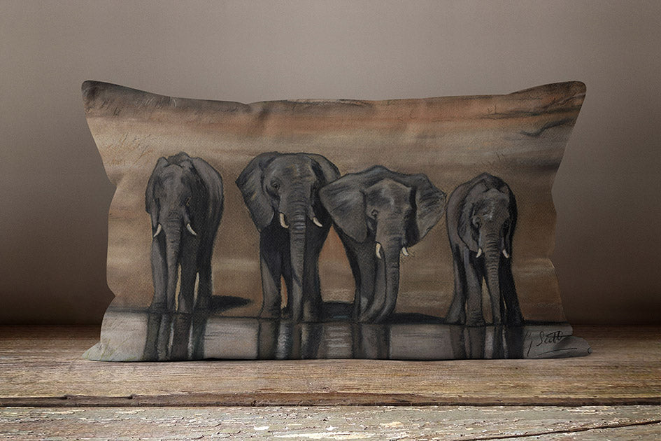 Herd Of Elephants Oblong Cushion