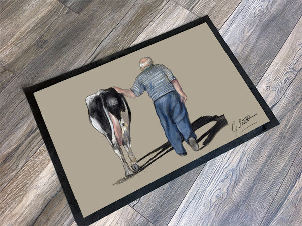 Farmer Walking With Cow Floor Mat