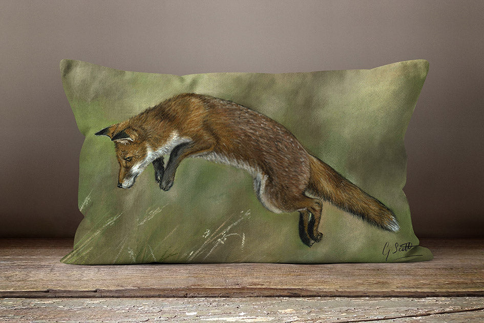 Leaping Fox Oblong Cushion