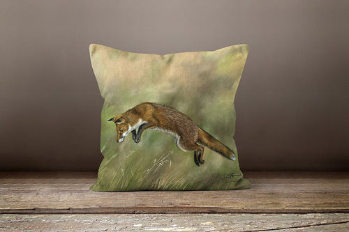 Leaping Fox Square Cushion