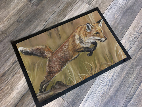 Leaping fox floor mat by Artist grace Scott Machine Washable Great Gift