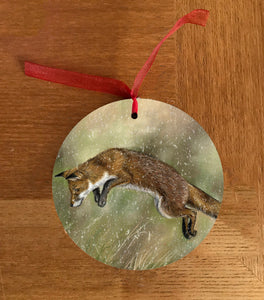 Fox Leaping Christmas Hanging Decoration