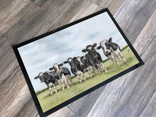 Herd Of Friesian Cows With Sky Background Floor Mat