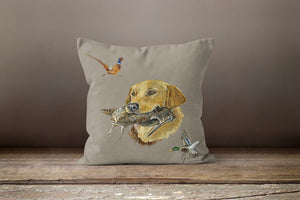 Golden labrador with mallard duck and pheasant square cushion by grace scott