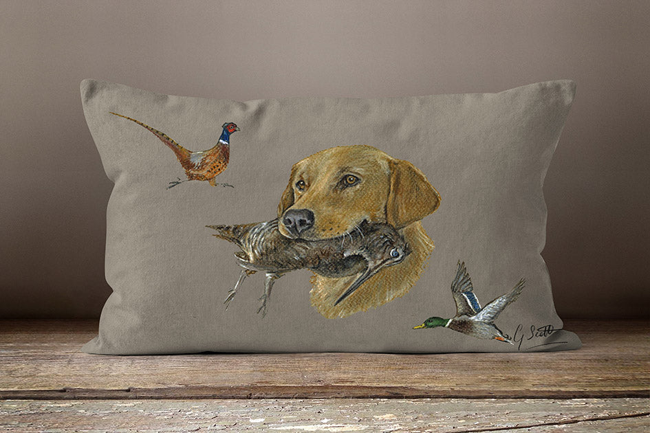 Golden Lab With Pheasant And Mallard Duck Hunting Oblong Cushion