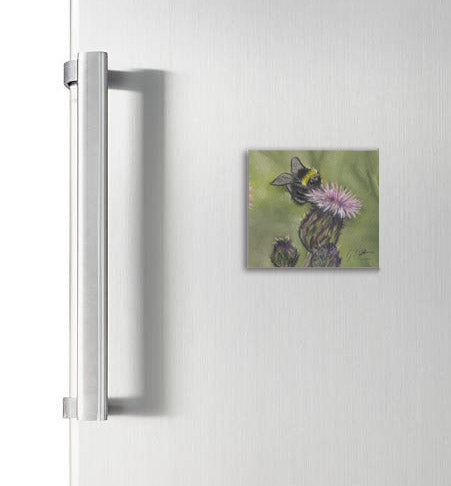 Bee On Thistle Garden Bird Square Magnet