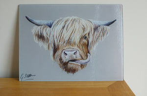 Highland Cow Glass Worktop Saver