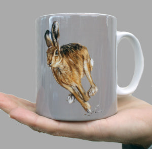 Hare Running with Neutral Grey Background Mug
