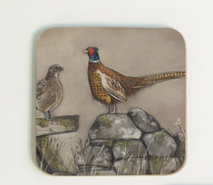 Hen and Cock Pheasant Coaster