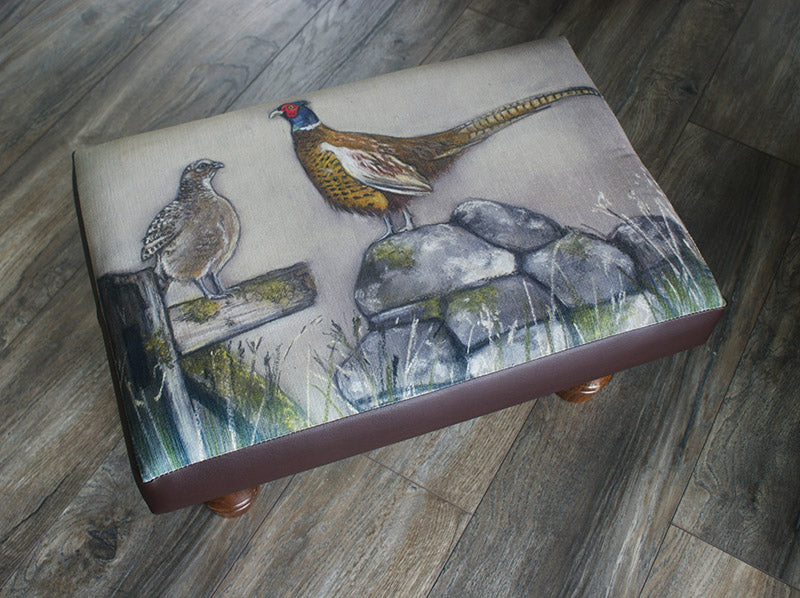 Hen And Cock Pheasant Footstool