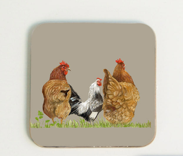 Trio of Hens Coaster