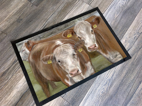Hereford Cows Floor Mat