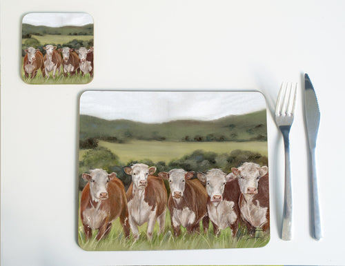 Row Of Hereford Cows Placemat